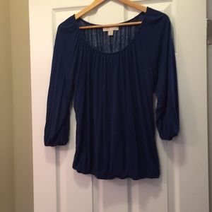Michael Kors size large blue and black knit top